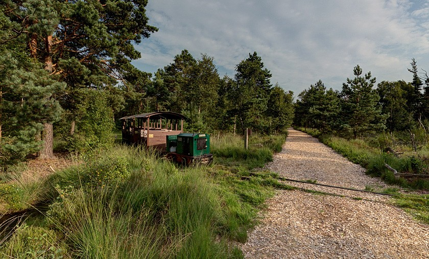 Die Moorbahn kreuzt den Wanderweg ins Moor
